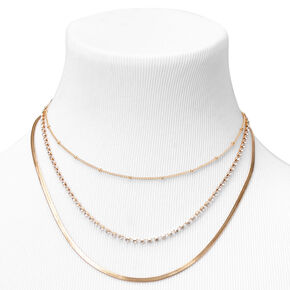 Gold Beaded, Rhinestone & Snake Chain Necklaces - 3 Pack,