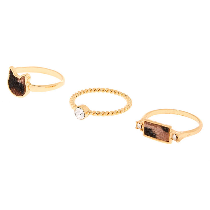 Gold Leopard Cat Rings - 3 Pack,