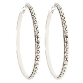 80MM Silver Textured Mesh Metal Hoop Earrings,