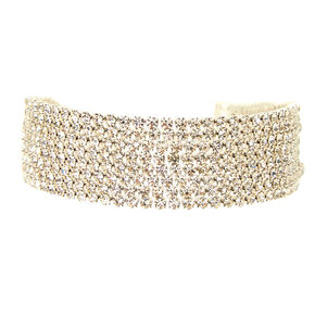 Silver Glass Rhinestone Swag Statement Bracelet,