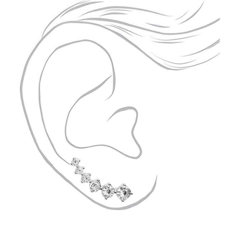 "Silver 1"" Cubic Zirconia Embellished Ear Crawler Earrings,"