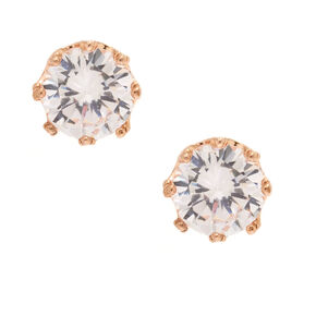 8MM Cubic Zirconia Rose Gold-Tone Crown Stud Earrings,