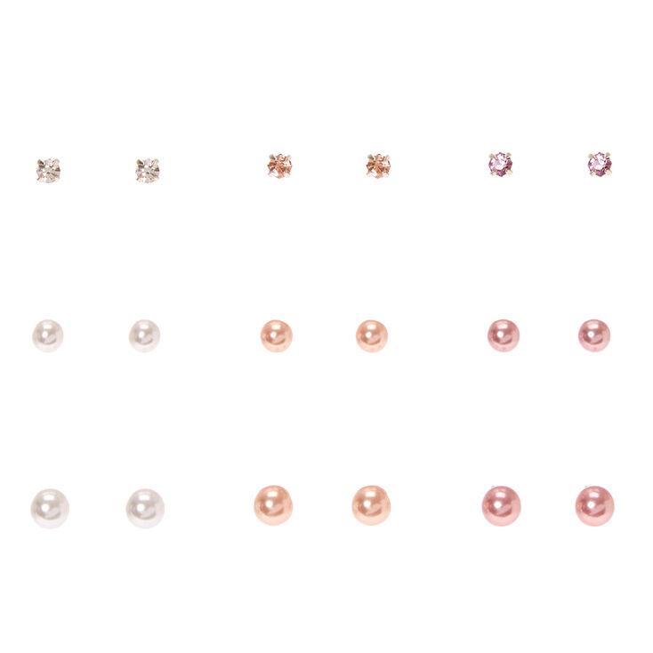 Ivory & Pink Graduate Faux Pearl Stud Earrings - 9 Pack,