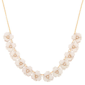 In Bloom Statement Necklace - White,