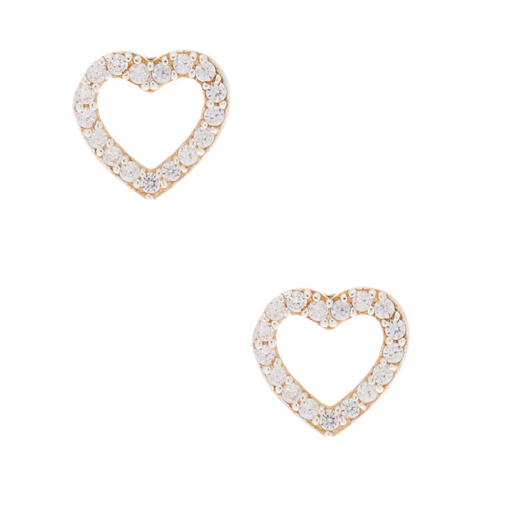 Sterling Silver Cubic Zirconia Heart Stud Earrings,