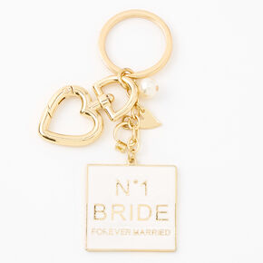 Number One Bride Enamel Keychain - Gold,