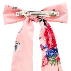 Rose Draped Hair Bow Clip - Pink,