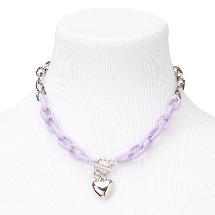 Silver Heart Rubber Chain Necklace - Purple,