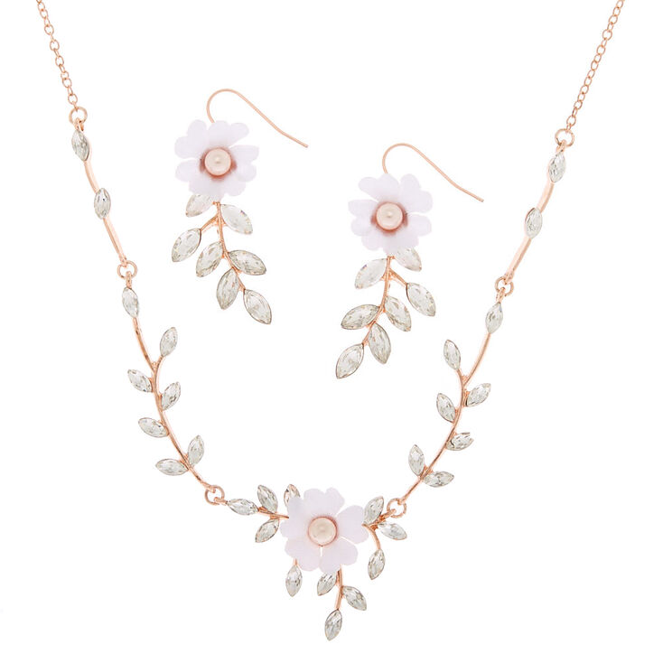 Rhinestone Leaf & Flower Jewelry Set - 2 Pack,