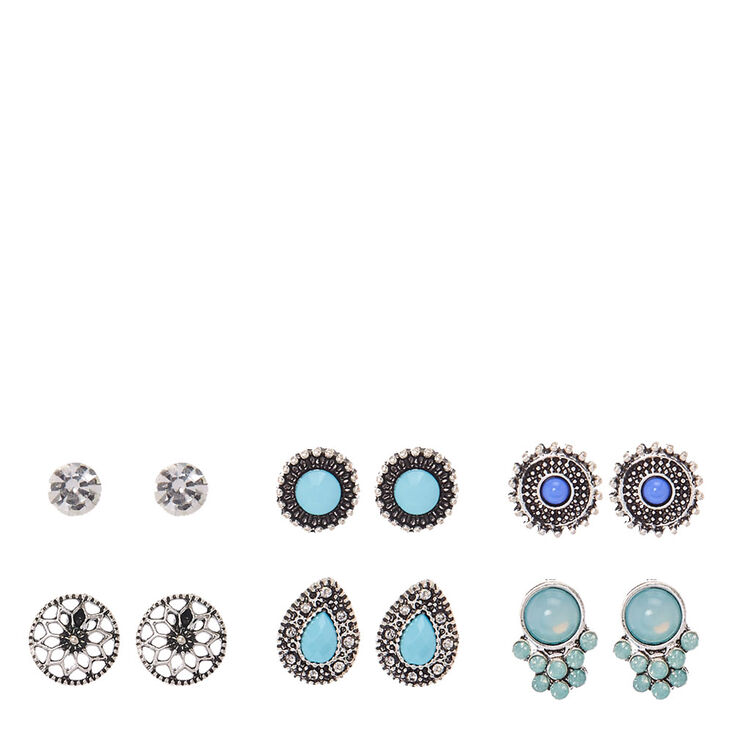 Silver & Turquoise Festival Stud Earrings,