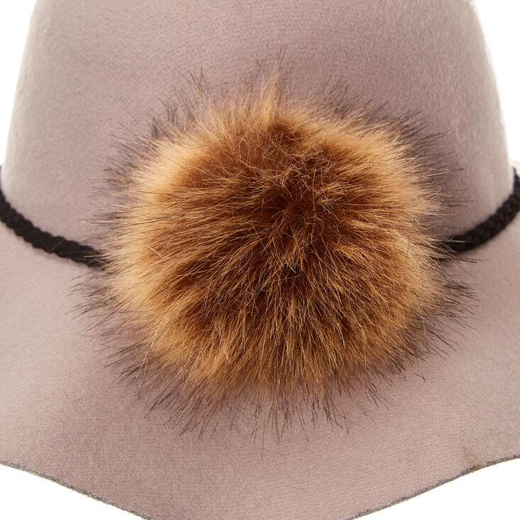 Gray Floppy Hat with Pom,