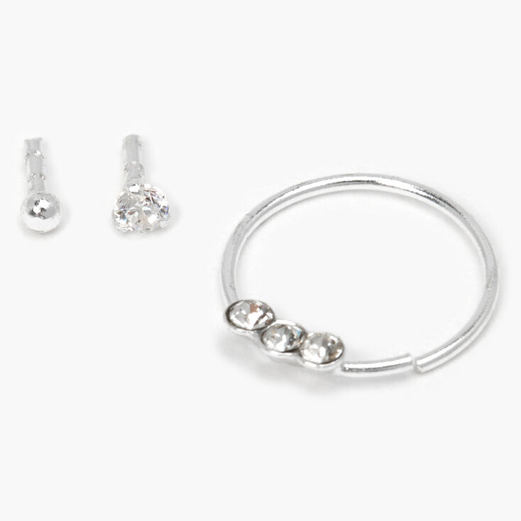 Sterling Silver Crystal Ball Mixed Cartilage Earrings - 3 Pack,