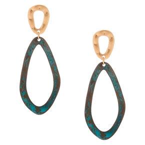 "Gold 2.5"" Patina Pebble Drop Earrings,"