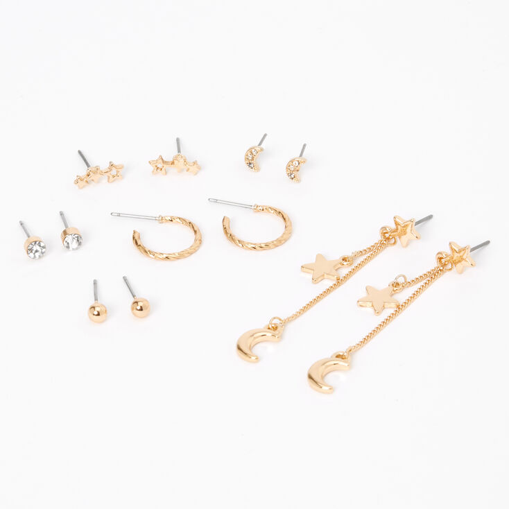Gold Celestial Vibes Mixed Earrings - 6 Pack,