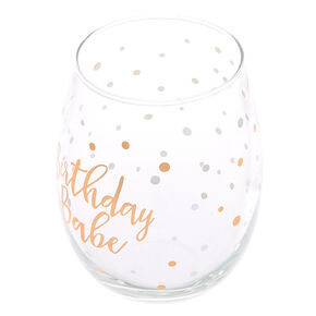 Birthday Babe Polka Dot Wine Glass - Rose Gold,