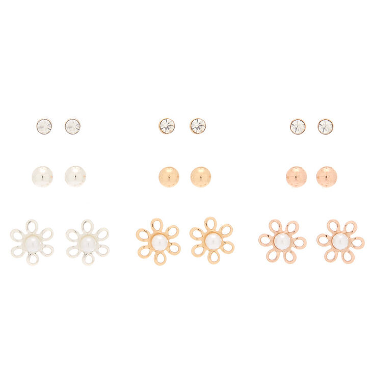 Mixed Metal Flower Stud Earrings - 9 Pack,