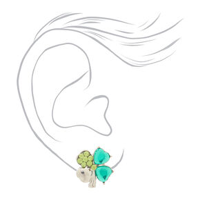 Silver Crystal Shamrock Stud Earrings - Green,