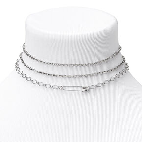Silver Paperclip Chain Choker Necklaces - 3 Pack,