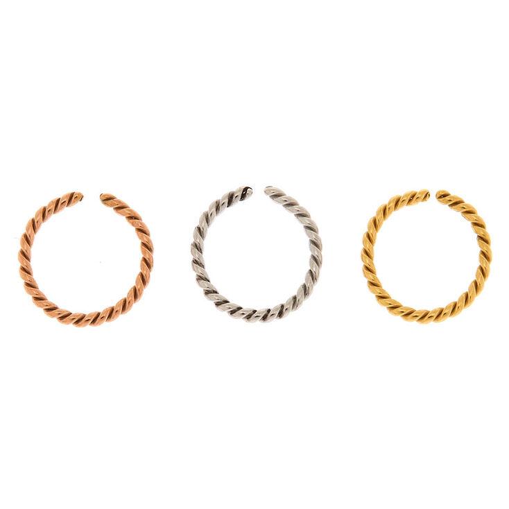 Mixed Metal 18G Twisted Cartilage Hoop Earrings - 3 Pack,