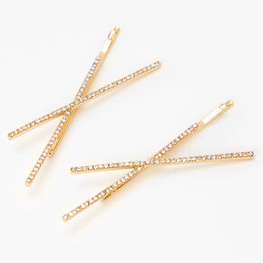 Gold Rhinestone Criss Cross Hair Pins - 2 Pack,