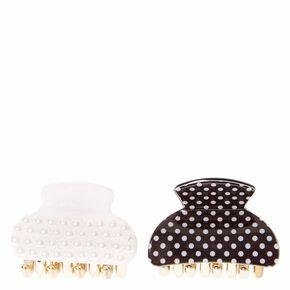 Pearl & Polka Dot Mini Hair Claws,