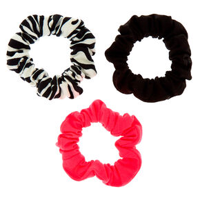Small Neon Zebra Hair Scrunchies - 3 Pack,