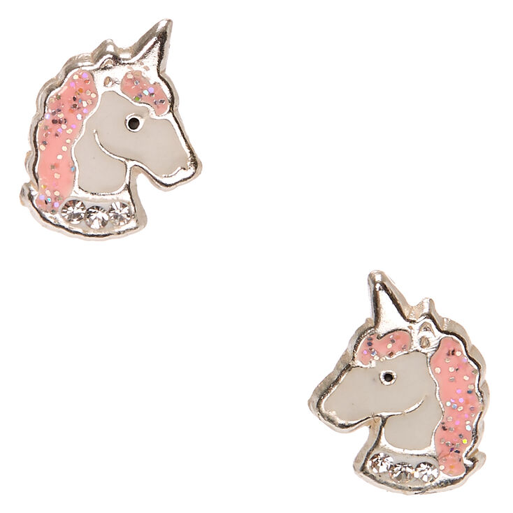 Sterling Silver Pink Crystal Unicorn Earrings,