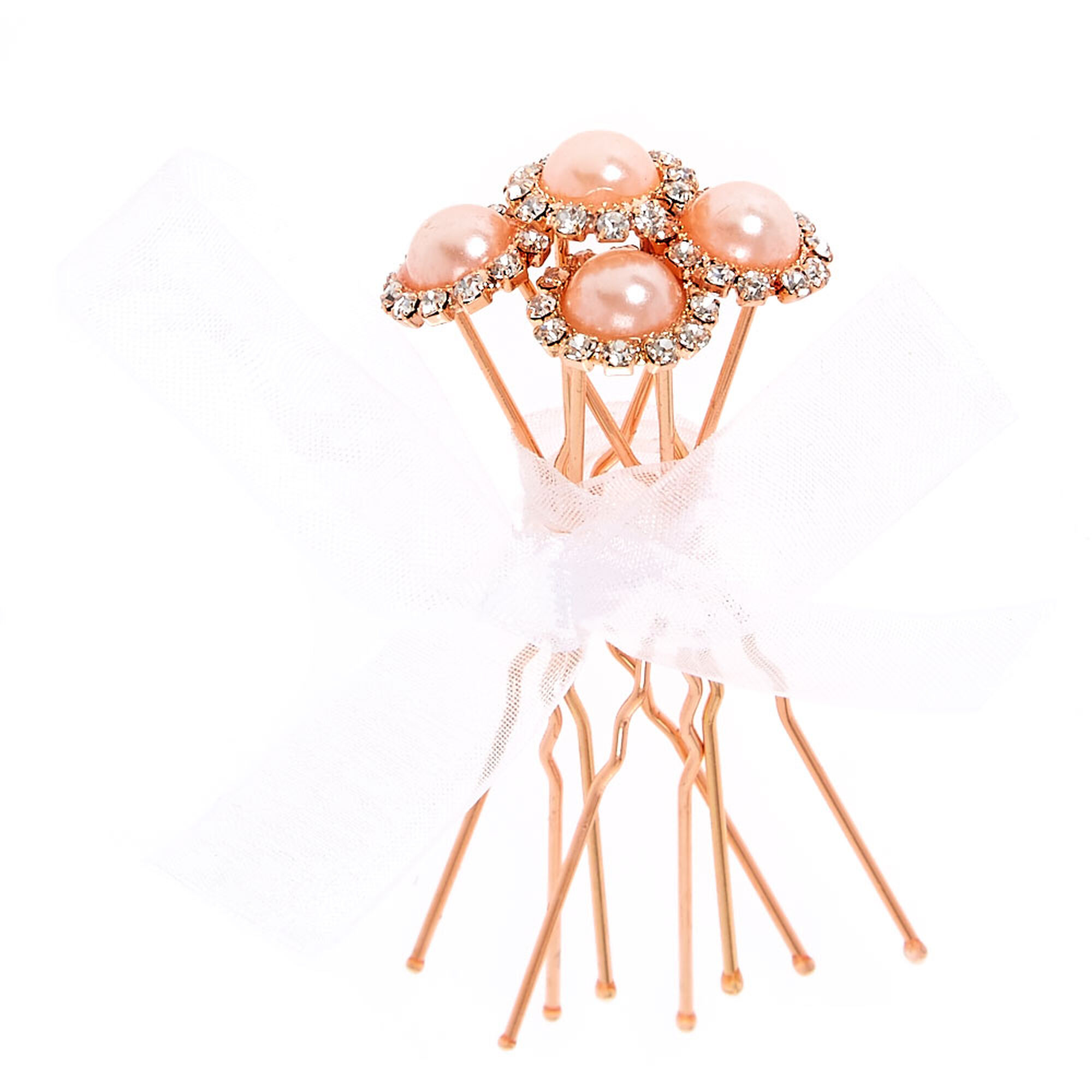 Rose gold halo pearl chignon pins set of 4 icing us - Chignon original ...