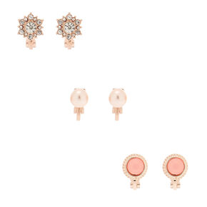 Rose Gold Clip On Stud Earrings - 3 Pack,