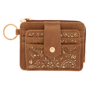 Filigree Cut Perforated Coin Purse - Brown,