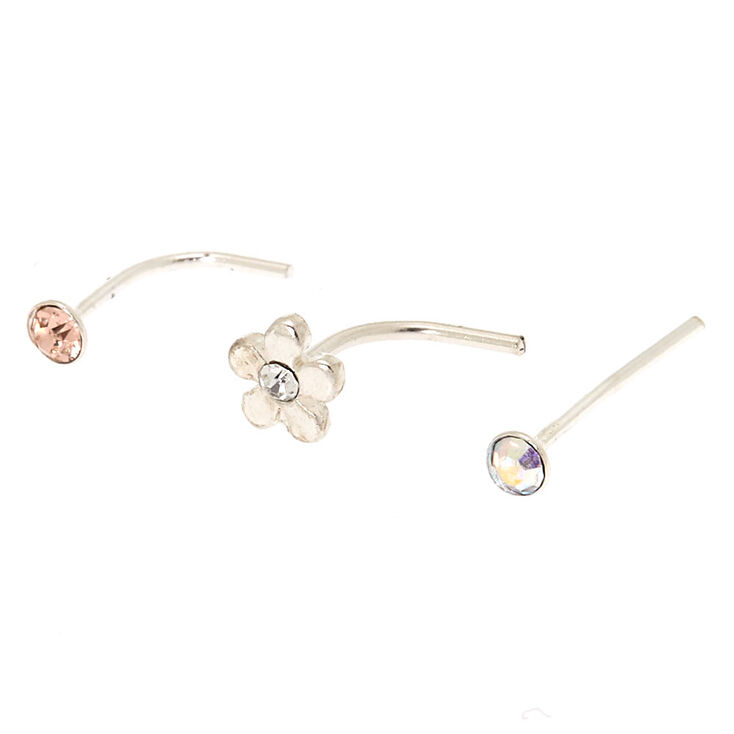 Sterling Silver 22G Daisy Nose Studs - 3 Pack,
