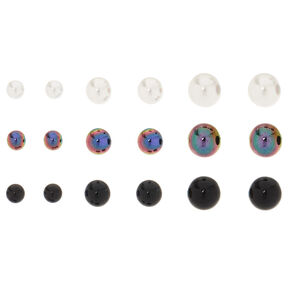 9 Pack Graduated Ball Stud Earrings,