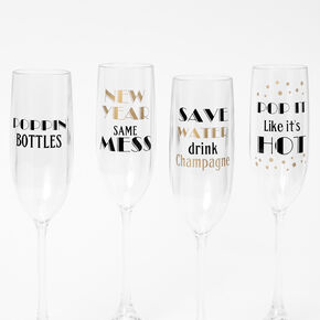 New Year's Eve Plastic Champagne Flutes - Set of 4,
