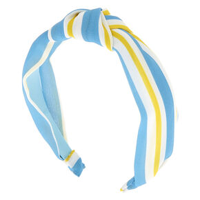 Striped Twisted Knot Headband - Blue,