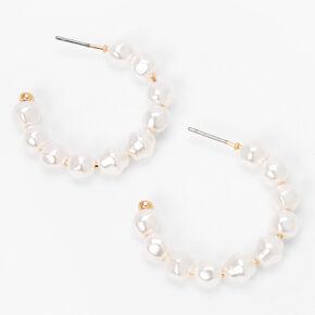 Gold 30MM Pearl Hoop Earrings - White,