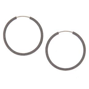 Hematite Hoop Earrings - 25MM,