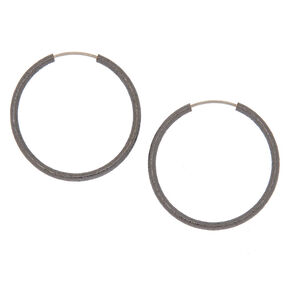 Hematite Hoop Earrings - 25MM,