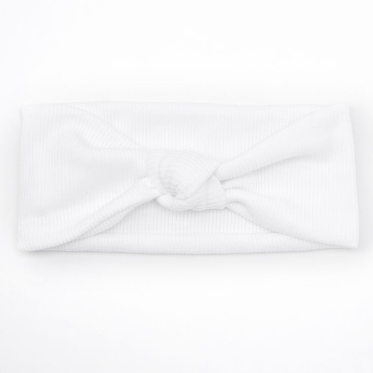 Wide Jersey Knotted Headwrap - White,