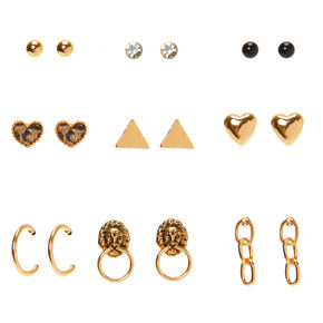 Mixed Gold Earrings - 9 Pack,
