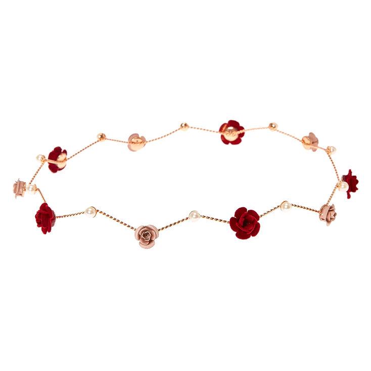 Rose Gold Burgundy Pearl Flower Crown,
