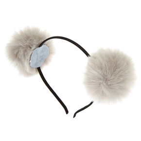 Pom Pom Cat Ears Headband - Gray,