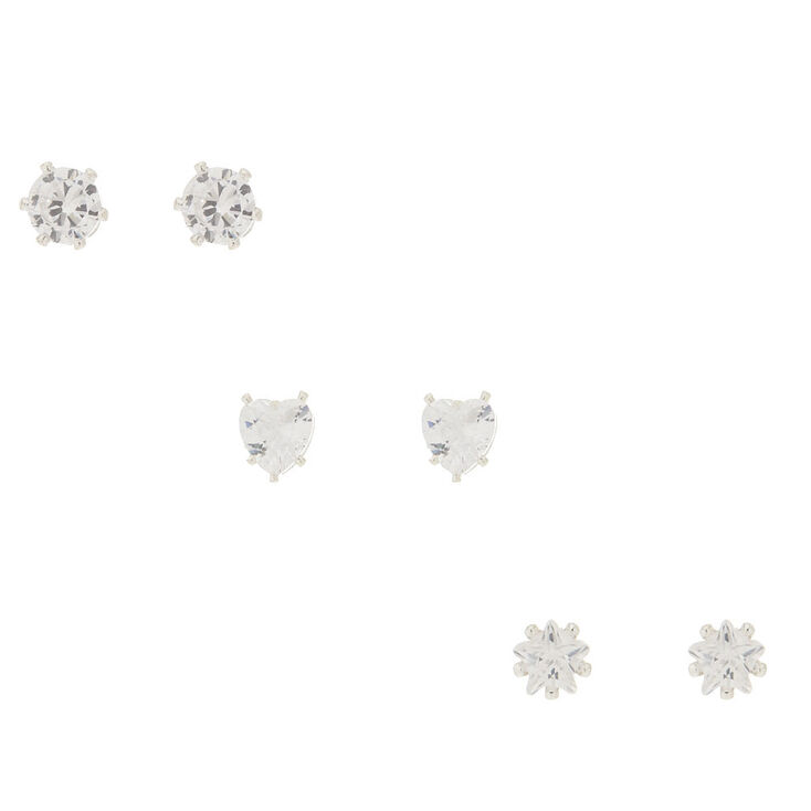 3 Pack Cubic Zirconia Shaped Stud Earrings,