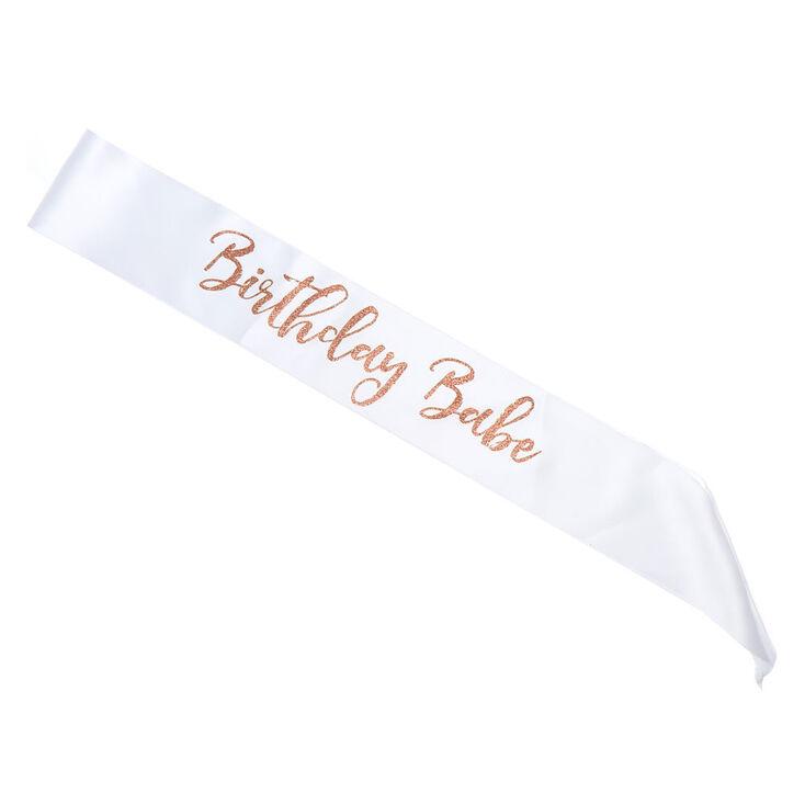 Rose Gold Glitter Birthday Babe Sash - White,