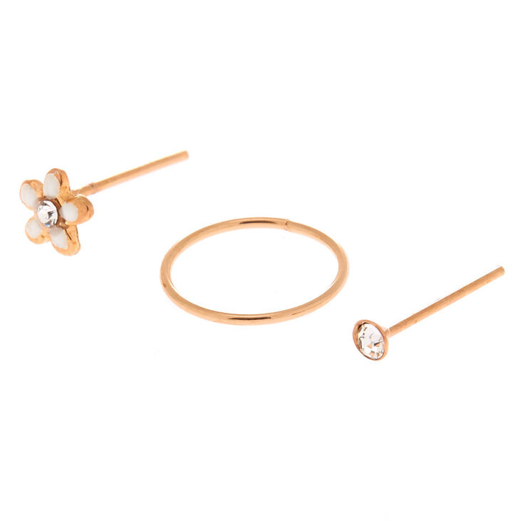 Rose Gold Sterling Silver 22G Mixed Nose Studs & Ring Set - 3 Pack,