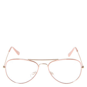 Blush Aviator Clear Fake Glasses,