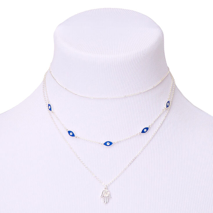 Silver Evil Eye Multi Strand Choker Necklace - Blue,