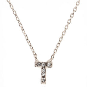 "Silver Studded ""T"" Initial Necklace,"