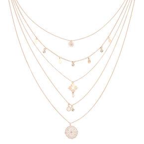 Rose Gold Filigree Multi Strand Necklace,