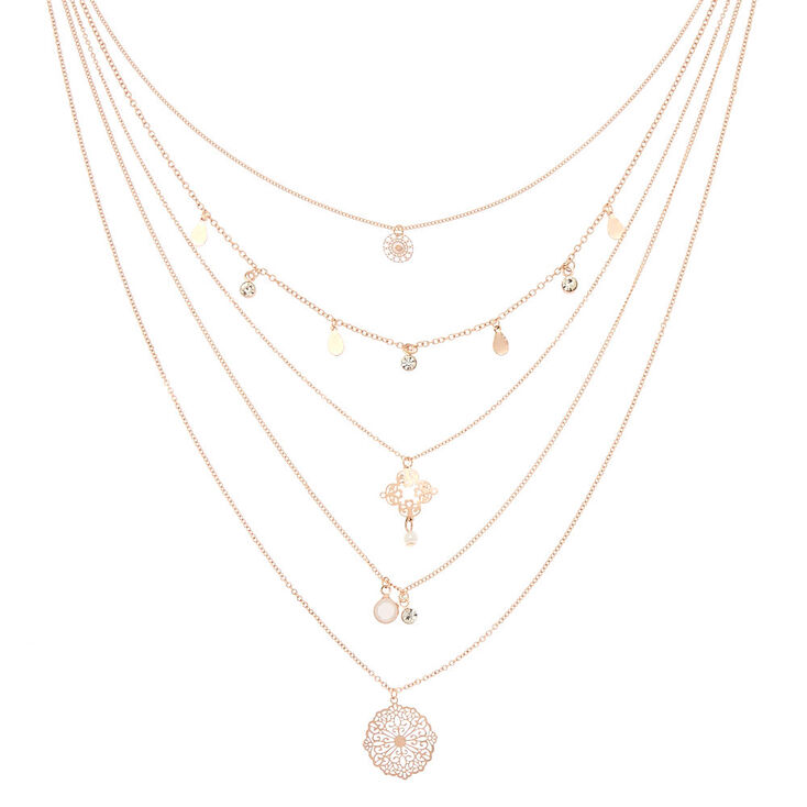 Rose Gold Filigree Multi Strand Necklace,