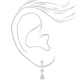 """Silver Cubic Zirconia 1.5"""" Double Diamond Drop Earrings,"""